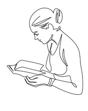 Young Woman Reading Book Continuous One Line Vector Drawing. Leisure Time, Hobby. Hand Drawn Girl Studying.