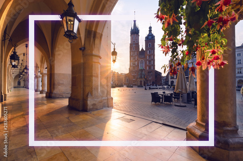 Photo sur Toile Cracovie Old city center with with frame in Krakow