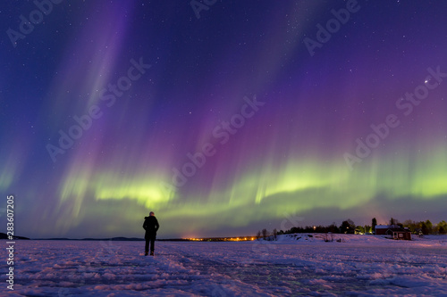 Canvas Prints Violet Person watching a breath-taking display of colorful northern lights on frozen lake Inari, Finland.
