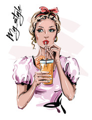 Hand drawn beautiful young woman with drink. Stylish pin-up girl with head accessory. Fashion woman look. Sketch. Vector illustration.