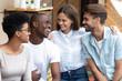 canvas print picture - Portrait of happy diverse millennial friends hug at meeting
