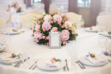 Guest Table, With Bouquet From Petals And A Number.wedding Concept