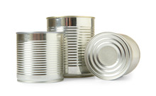 Closed Tin Cans Isolated On Wh...