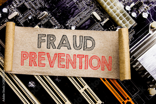 Writing text showing Fraud Prevention Fototapeta