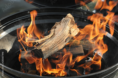 Fototapeta New modern barbecue grill with burning firewood, closeup obraz