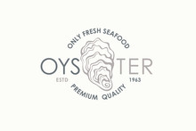 Label Of Fresh Oyster Shell Isolated On Light Background