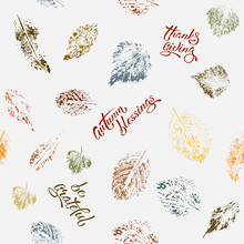 Seamless Pattern With Autumn Leaves. Vector Background With Leaves And Hand Written Lettering. Suitable For Wrapping Paper, Textile Or Book Covers, Wallpapers, Design, Graphic Art, Printing