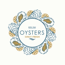 Label Of Fresh Oyster Shell An...