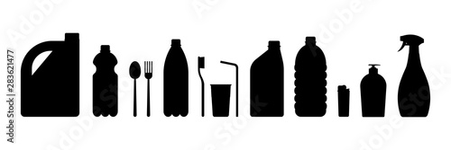 Fototapeta Vector sketch set of plastic items on a white background obraz