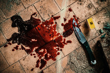 Crime Scene With Knife Marked With Number In Blood Of Victim On Floor. Investigation Of Cruel Murder