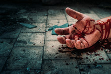 Crime Scene With Human Hand In...