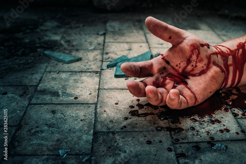 Fototapeta Crime scene with human hand in blood on floor of killed man by murder, dead body