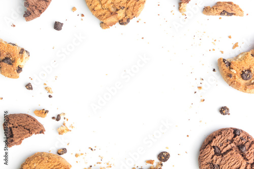 homemade chocolate chips cookies on white background in top view Canvas Print