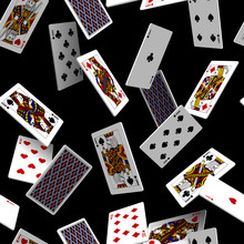 Falling Playing Cards Seamless Pattern Isolated On Black Backgroun
