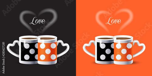 Photo Coffee couple mugs and heart shape