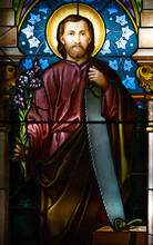 Kosice, Slovakia. 2019/7/4. A Stained-glass Window Depicting Saint Joseph. Displayed In The Roman Catholic Archbishop's Office.