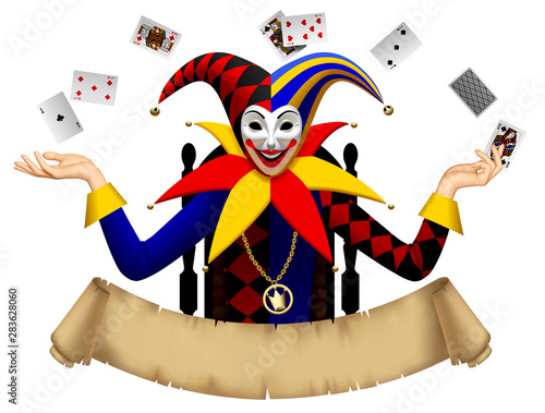 Photo Joker with playing cards with a retro parchment banner