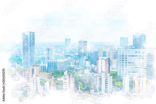 Fotografía  東京風景 Tokyo city skyline , Japan