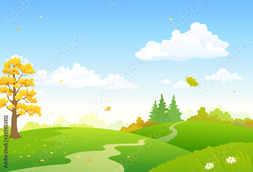Cadres-photo bureau Bleu ciel Vector cartoon illustration of a colorful autumn scenery