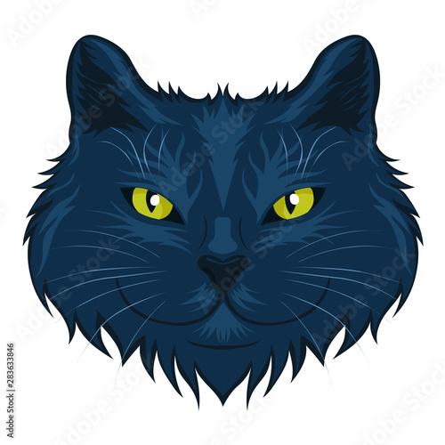 Poster Croquis dessinés à la main des animaux Cat head isolated on a white background. Vector graphics.