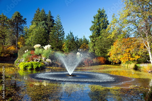 Foto Pond with fountain in Van Dusen Park,  sunny  autumn day Rainbow in Fountain  co