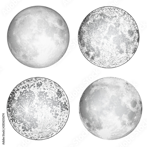 Set of realistic full moon and moon stipple drawing. Vintage engraving astrology or astronomy design. Vector. Wall mural