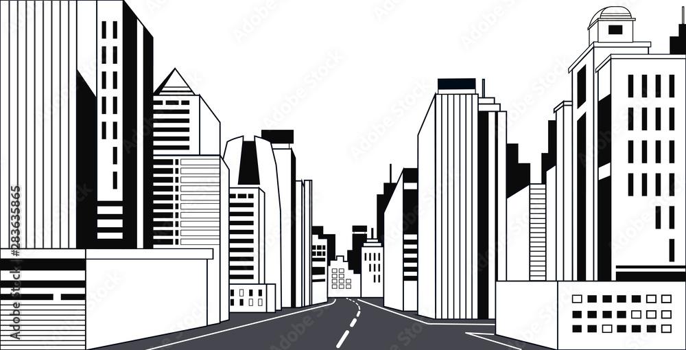 Fototapety, obrazy: highway asphalt road city skyline modern buildings high skyscrapers cityscape background line horizontal