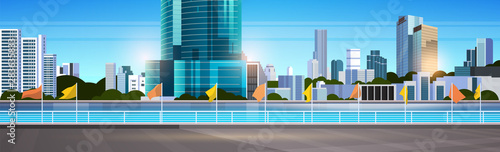 city skyline modern skyscrapers fence and river against cityscape background flat horizontal banner