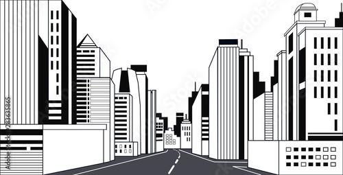 highway asphalt road city skyline modern buildings high skyscrapers cityscape background line horizontal