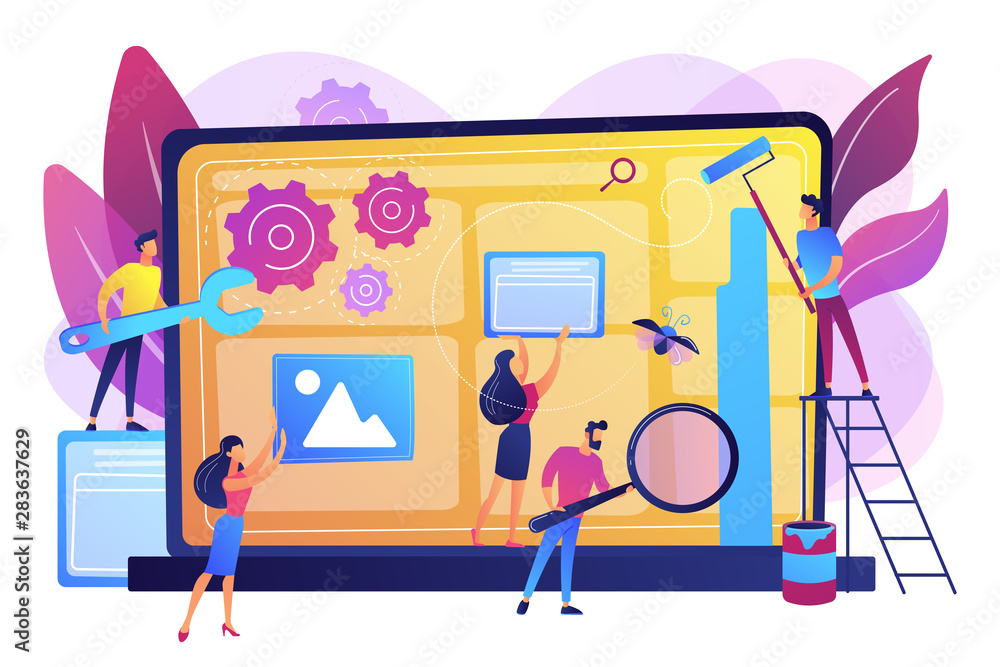 Fototapeta Technical support, programming and coding. Website maintenance, website maintenance services, update and keep your site easy concept. Bright vibrant violet vector isolated illustration