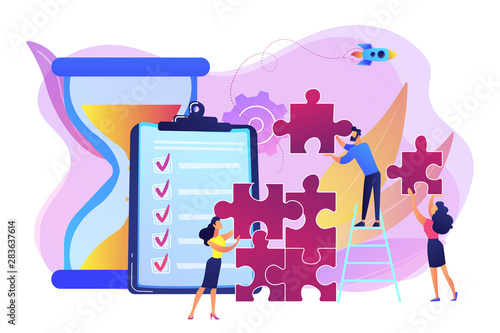 Photo sur Toile Echelle de hauteur Project management. Business process and planning, workflow organization. Colleagues working together, teamwork. Project delivery concept. Bright vibrant violet vector isolated illustration