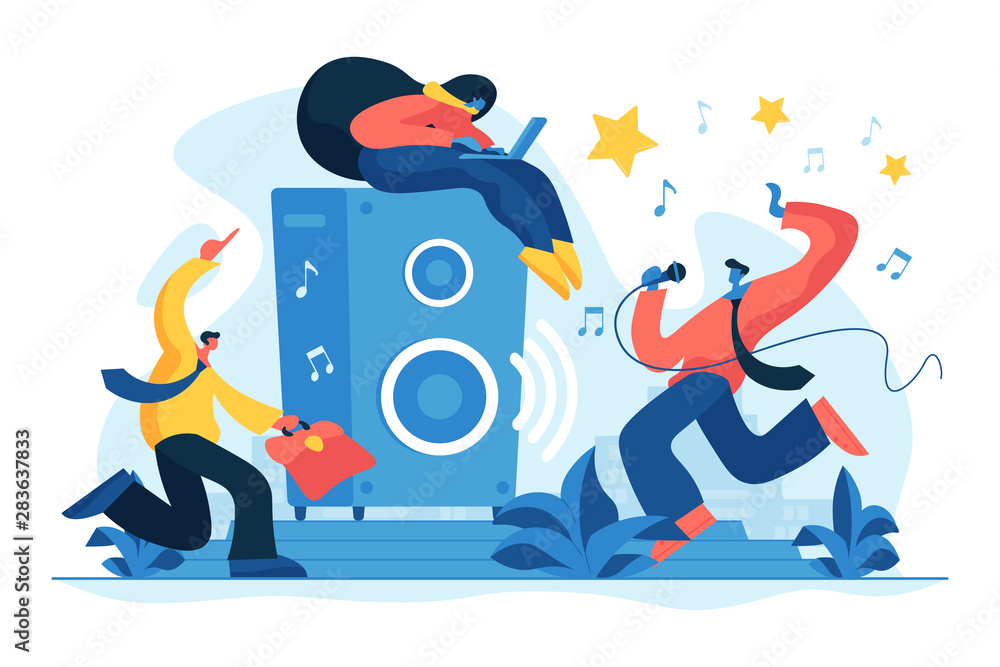 Fototapety, obrazy: Corporate party and team building. Employees relaxing in modern office. Rest breaks at work, office fun and games and stress management concept. Vector isolated concept creative illustration