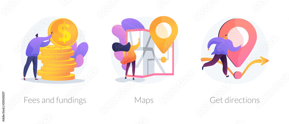 Fototapeta GPS navigation service application. Business investment and money savings cliparts set. Fees and funding, maps, get directions metaphors. Vector isolated concept metaphor illustrations