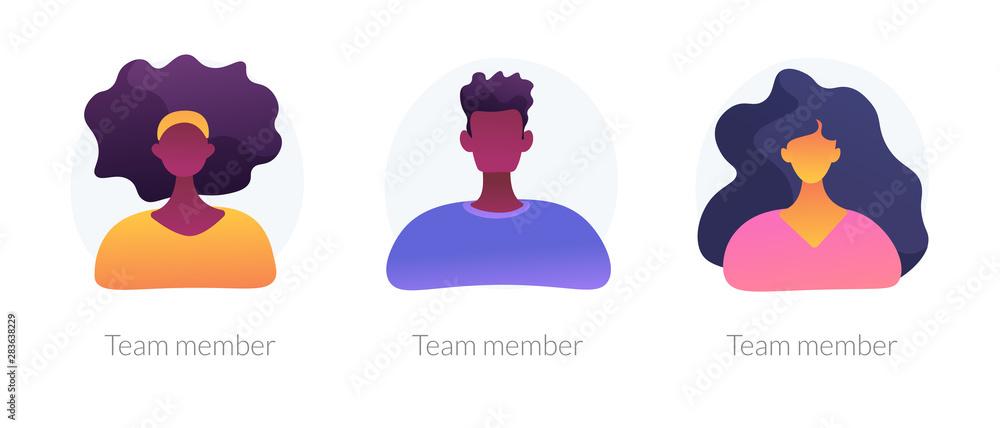 Fototapeta User personal profile faceless characters set. Dark skin employees, multicultural corporate workers portraits. Team member, avatar metaphors. Vector isolated concept metaphor illustrations