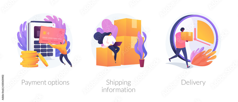 Fototapeta Online shopping web banners set. Internet store purchase e paying. Order shipment. Payment options, shipping information, delivery metaphors. Vector isolated concept metaphor illustrations