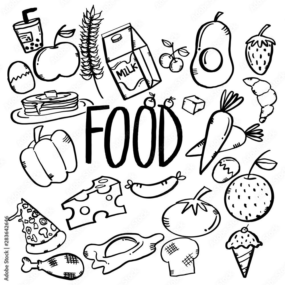 Fototapety, obrazy: doodle food set design graphic menu