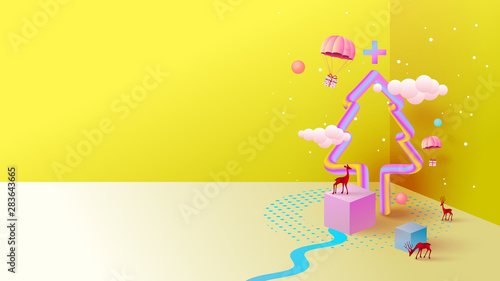 Recess Fitting Pop Art Geometry colorful Christmas background with copy-space for your product. Empty space for advertising. Modern abstract 3D cover, Postcard. Minimal style. Vector illustration.