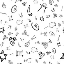 Purim Seamless Pattern Set, Great Design For Any Purposes. Isolated Seamless Pattern On White Background. Hanukkah Doodle Set. Fun Holiday Background. Hanukkah Doughnut, Jewish Holiday Symbol