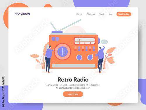 Landing page template of Retro Radio Illustration Concept