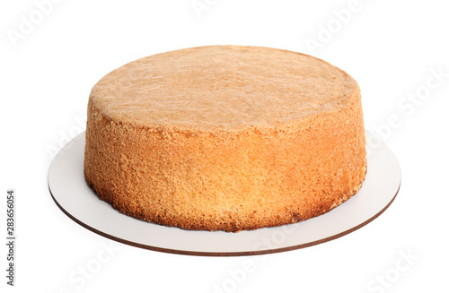 Delicious fresh homemade cake on white background Canvas Print