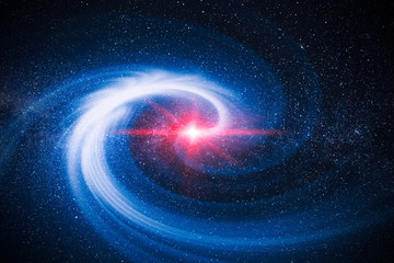 illustration of cosmic rays and dust light from in the galaxy spinning spiral in to center of universe