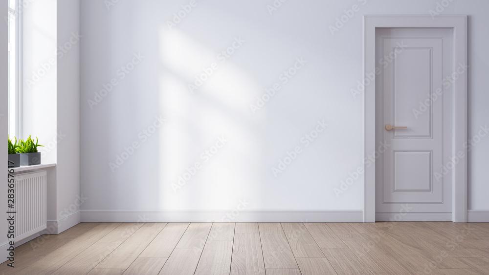 Fototapeta Modern mid century and minimalist interior of living room ,empty room , white wall and wood floor ,3d render