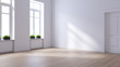 Leinwanddruck Bild - Empty room ,modern scandinavian   interior design, white wall and wood floor ,3d render