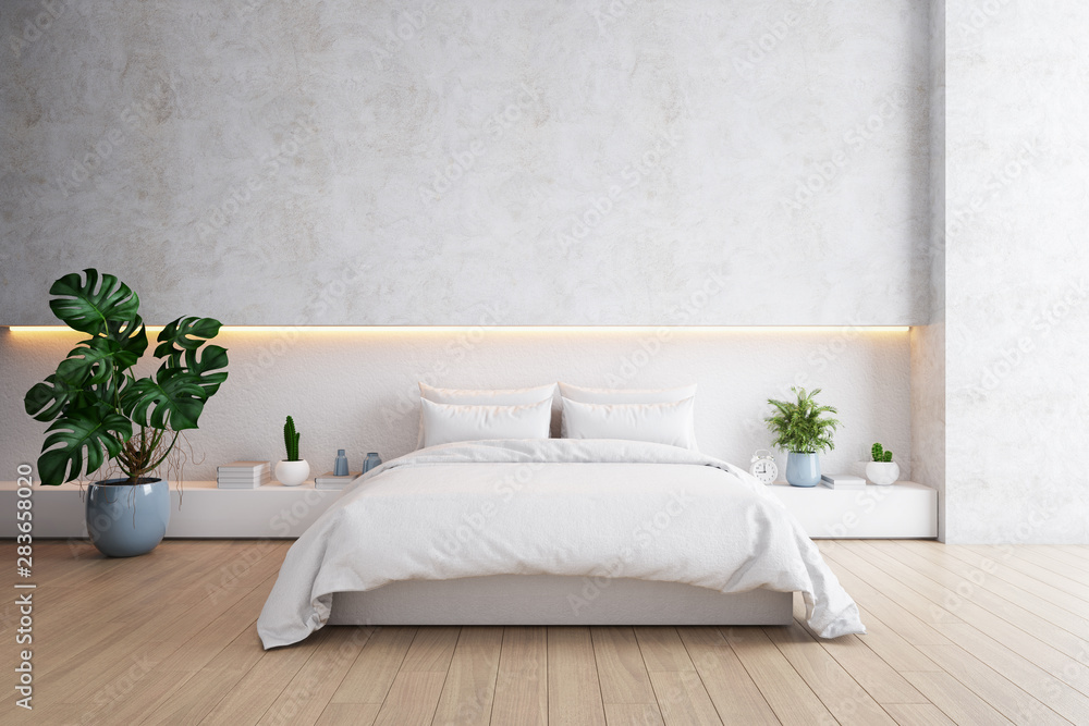 Fototapeta Bedroom and Modern Loft style.,Cozy white and gray room minimalist concept ,bed with wood floor and white wall ,3d rendering