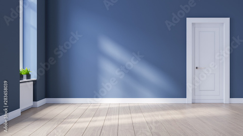 Modern interior empty room, Scandinavian Style ,wood flooring and blue wall  ,3d rendering - 283658039