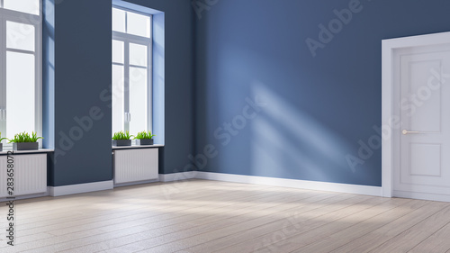 Obraz Modern interior empty room, Scandinavian Style ,wood flooring and blue wall  ,3d rendering - fototapety do salonu