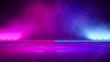 Empty  purple  neon  light  with  smoke ,abstract  background,ultraviolet  concept,3d render