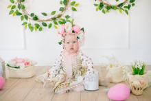 Cute Little Girl In A Dress Wi...