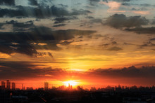 Sunset  With Cityscape Of Building Silhouette,At  Twilight  In Bangkok ,Thailand