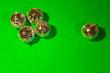 Leinwandbild Motiv Shiny party disco balls shining in a day light over color background